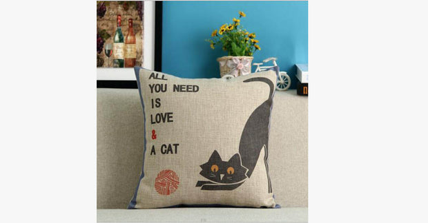 All You Need is Love&A Cat Pillow Cover