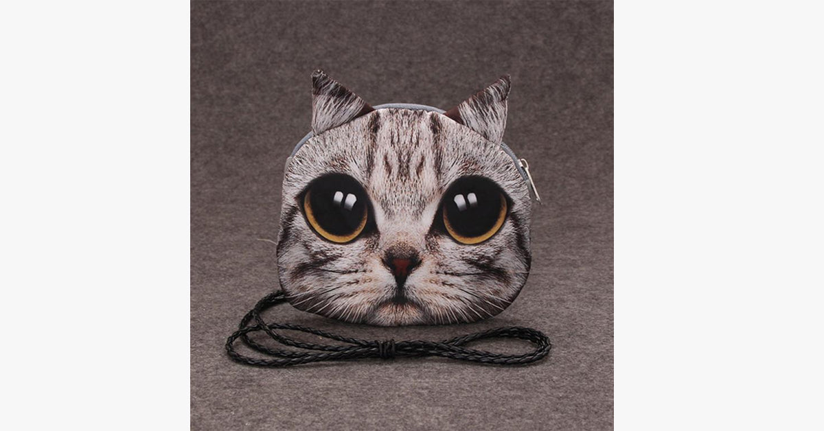 Retro 3D Print Cat Face Coin Bag