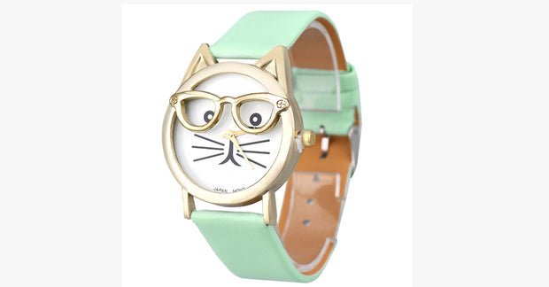Mint Cat Face Quartz Watch