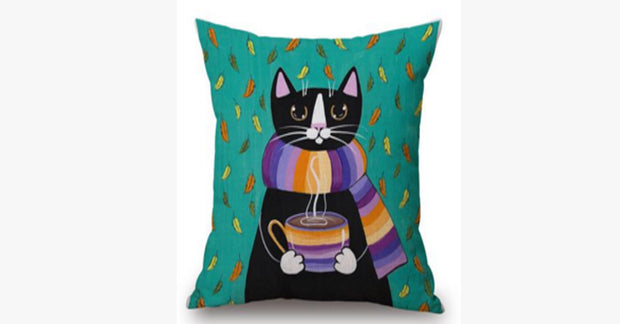Black Cat Green Pillow Cover
