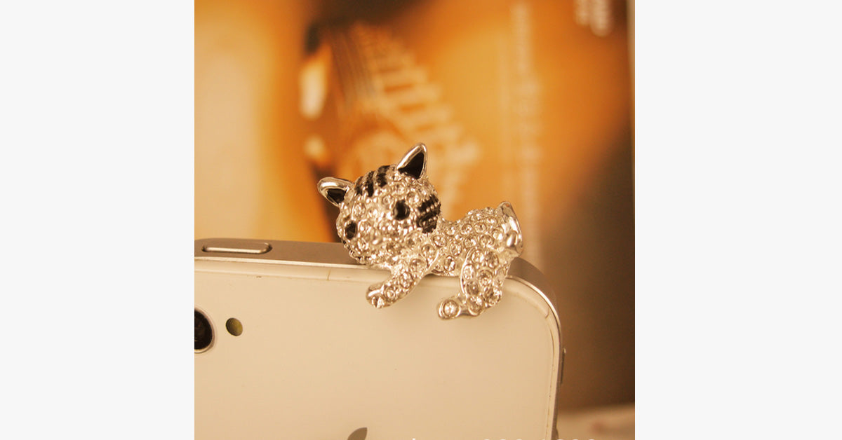 Silver Cute Crystal Cat Dust Plug