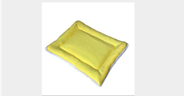 Yellow Pet Cat Crate Warm Bed Mat