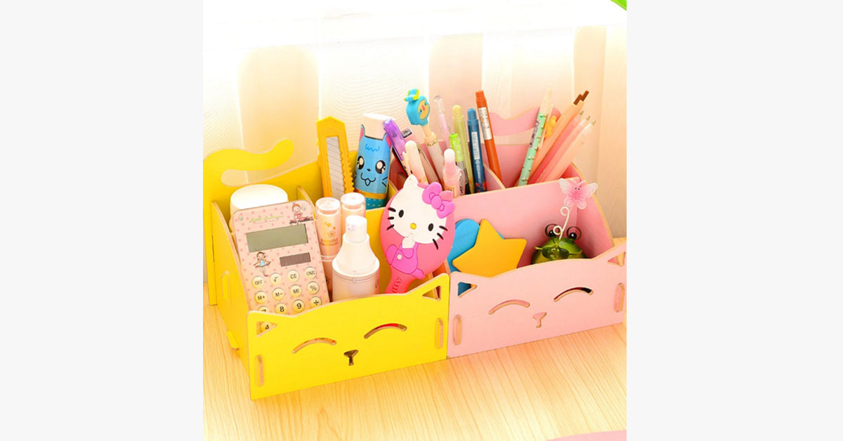Cat Desktop Wooden Storage Box