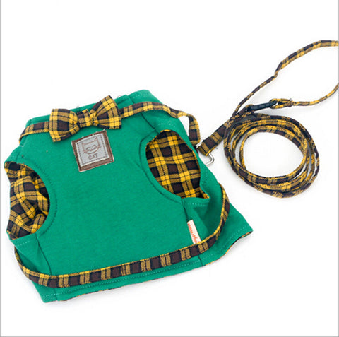 Yellow Plaid Bow Traction Rope Strap
