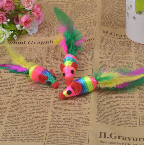 Color 3 Mouse Tail with Feather Cat Favorite Toy
