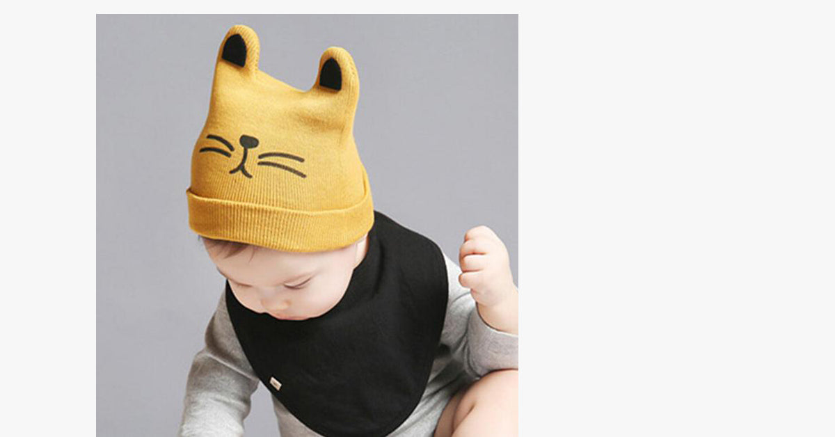 Yellow Embroidered Cat Cartoon Kids Knitted Beanie