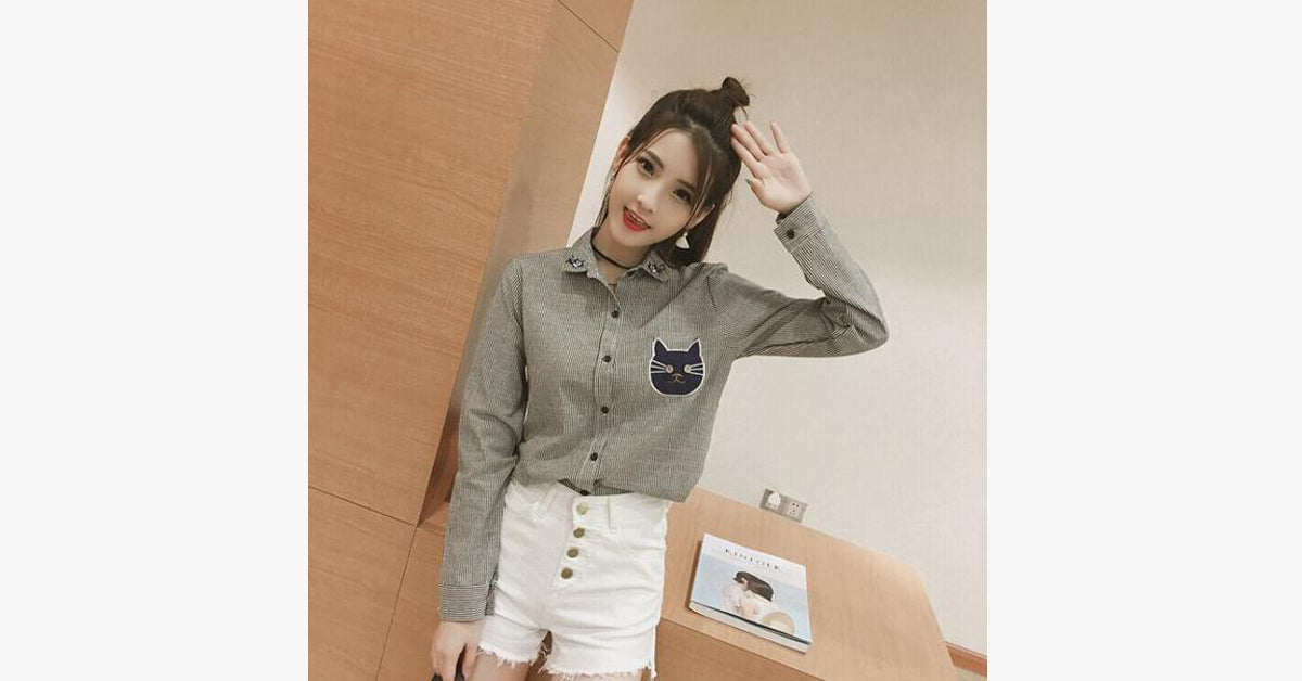 Fashion Sweet Loose Striped Long Sleeved Shirt