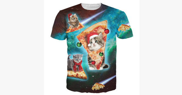Men Space Travel Cat With Pizza Short Sleeve