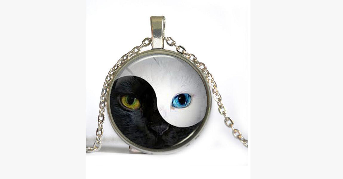 Yin and Yang Cat Face Fashion Retro Necklace