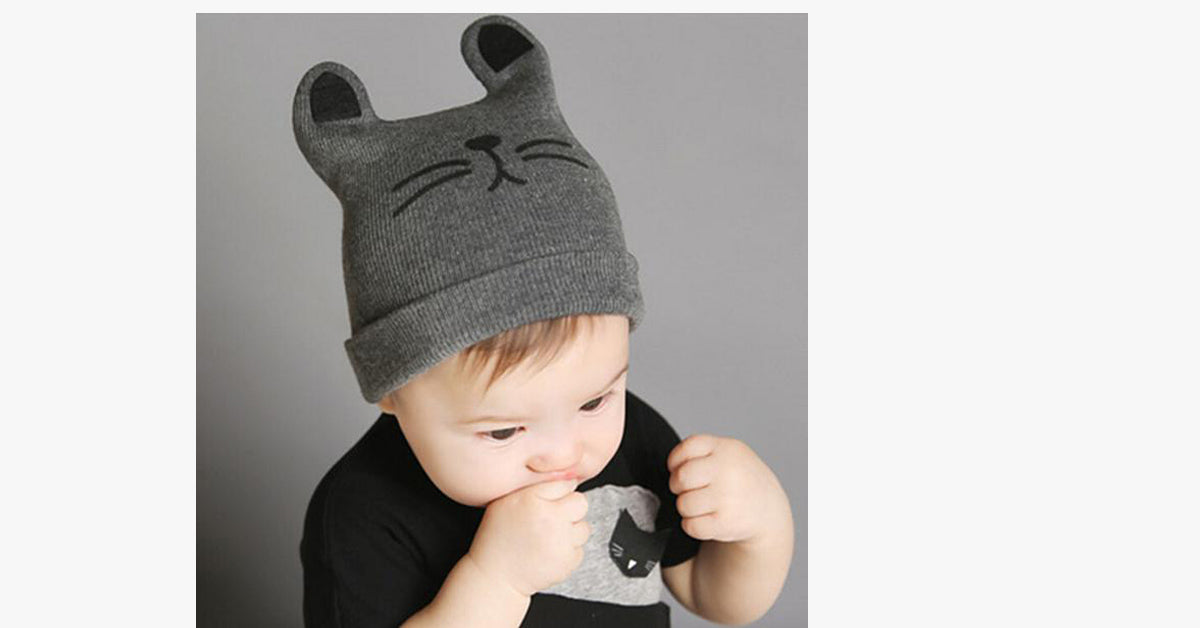 Grey Embroidered Cat Cartoon Kids Knitted Beanie