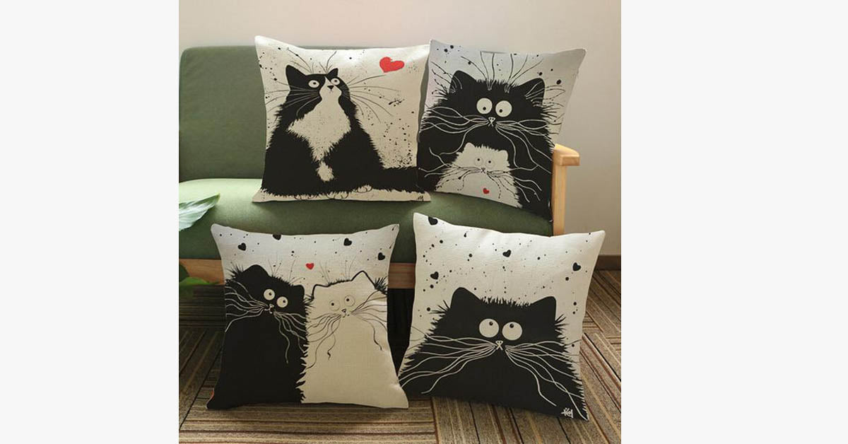Simple Cat Cotton Pillowcase
