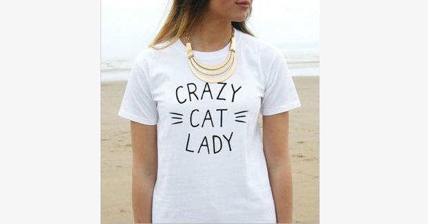 CRAZY CAT LADY Printed Fashion T-shirt