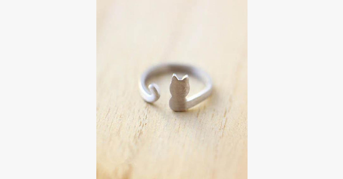 Silver Cat Wrap-Around Ring