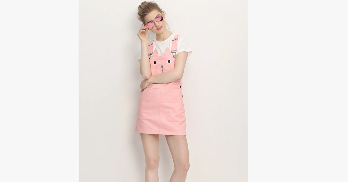 Cute Cat Embroidered Skirt