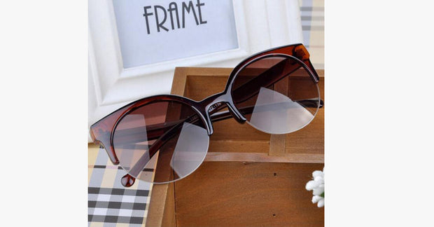 Semi Retro Cat Eye Sunglasses-Brown color