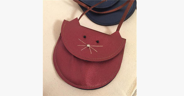 Burgundy Cute Cat Single Shoulder Bag