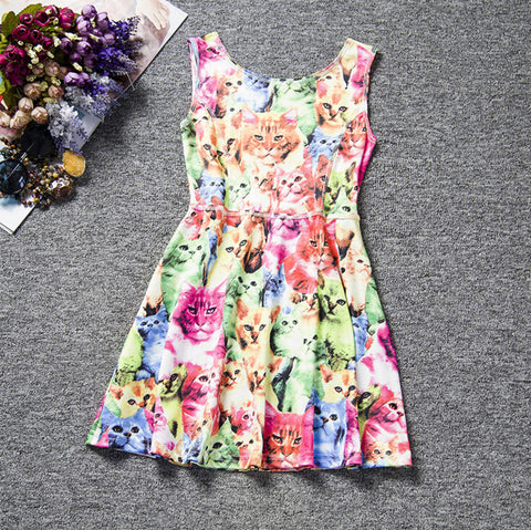 Sleeveless Cat Print Dress