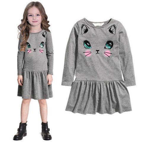 Cute Cat Print Children Dress
