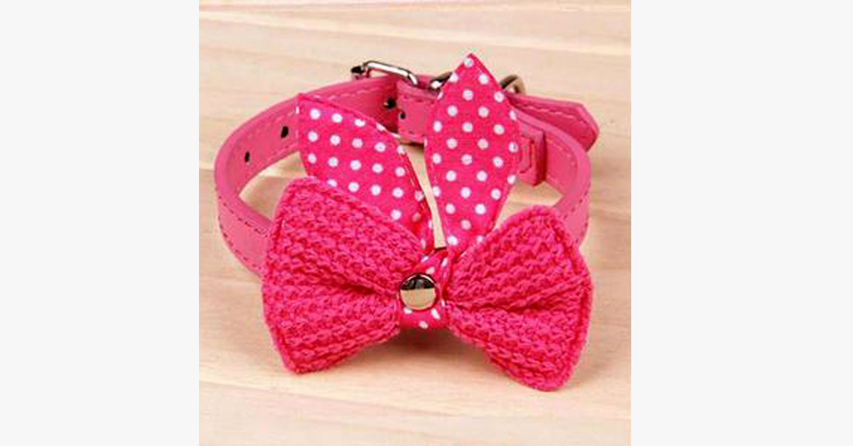 Knit Bowknot Adjustable Cat Collar