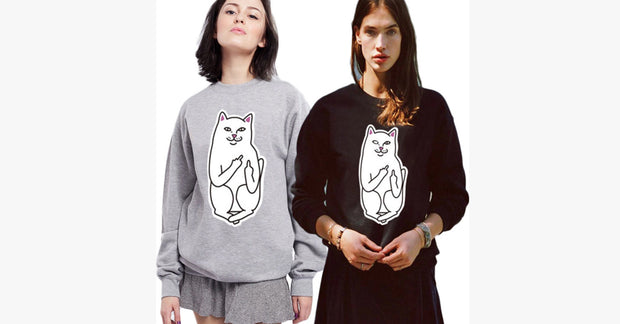 Pocket Finger Base Cat Hoodie
