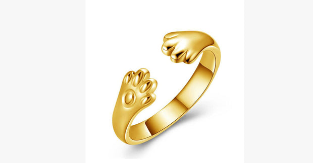 Gold-Plated Adjustable Kitty Paw Hugging Ring