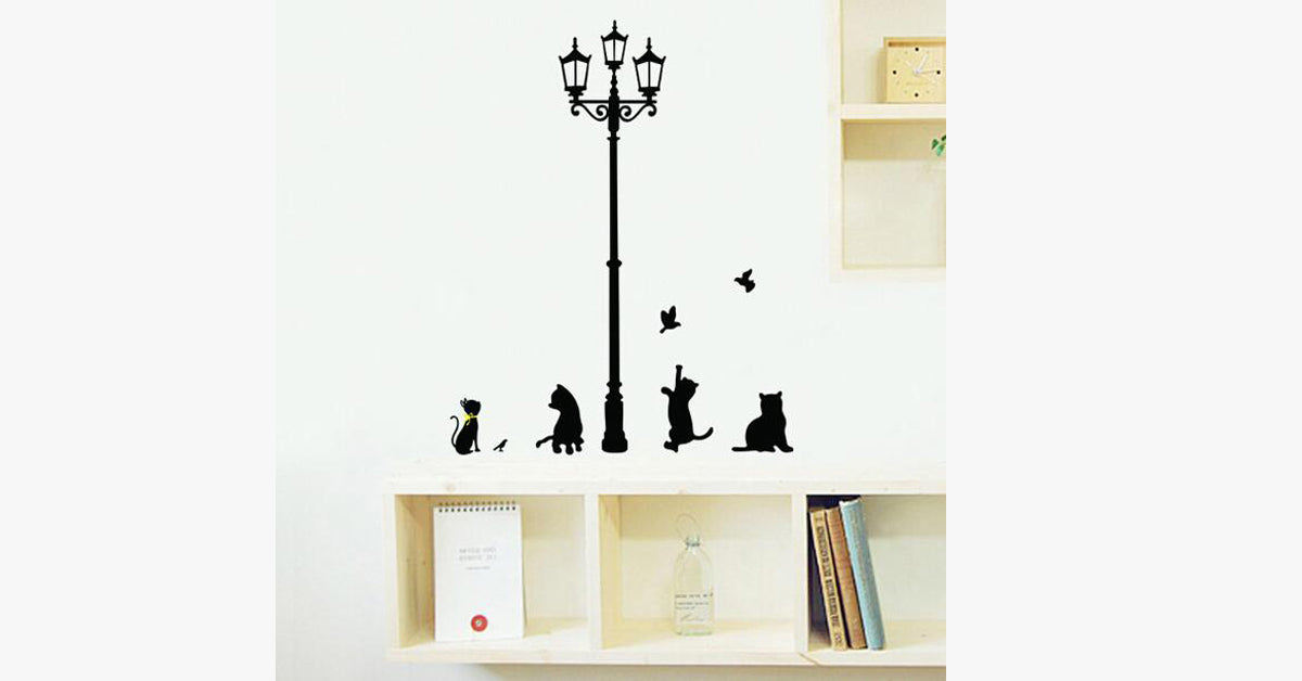 Four Kittens Under The Street Lamp Wall Stickers