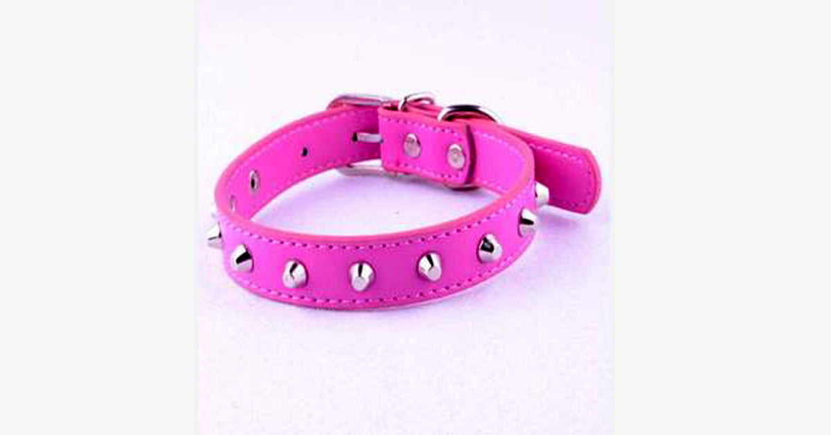 Pink Rivet Leather Collar