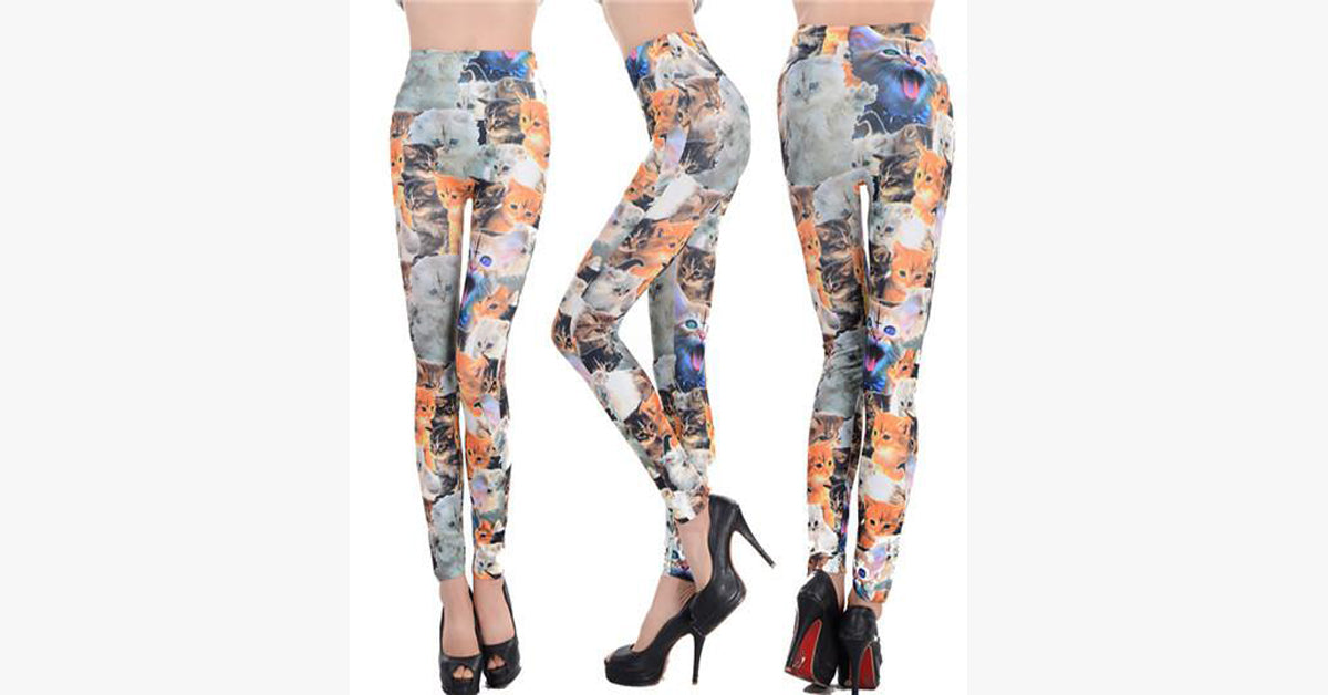 Fashion Women Cats Fitness Leggings