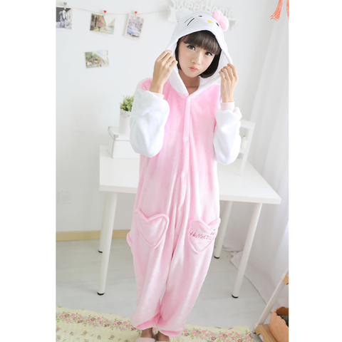 White & Pink Cat Pajama Suit
