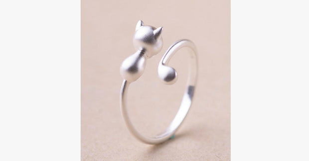 Sterling Silver Cat Opening Ring