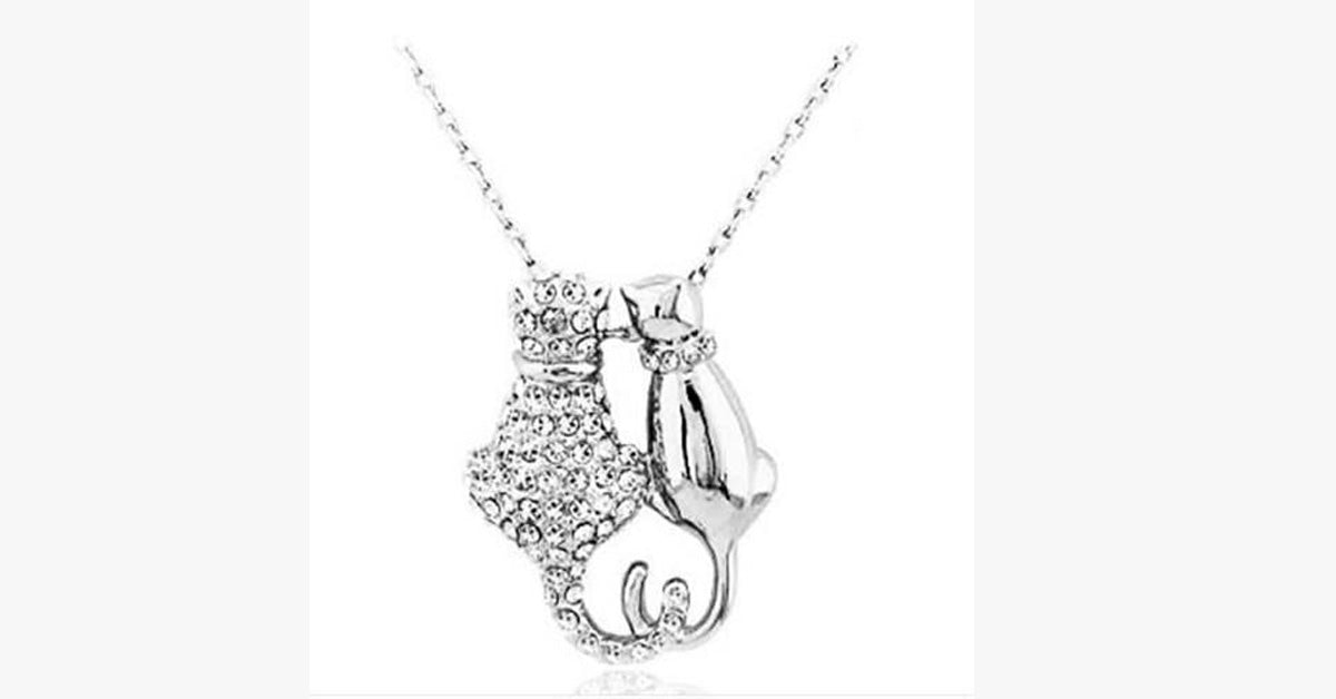Rhinestones Crystal Couple Cats Pendant Necklace