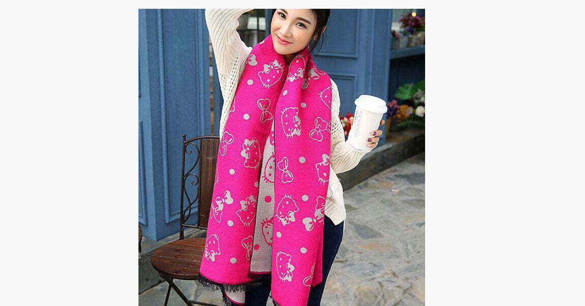 Cat pattern Double-sided Cashmere Extra Long Scarf Shawl-Hot Pink and White color