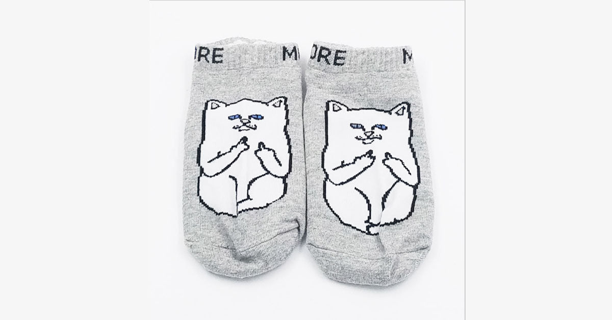 Middle Finger Cat Cotton Short Socks