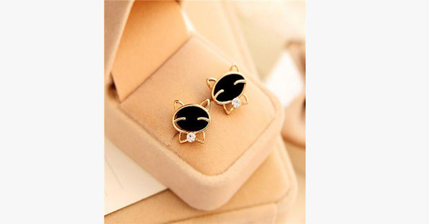 Black Smile Cat Stud Earrings