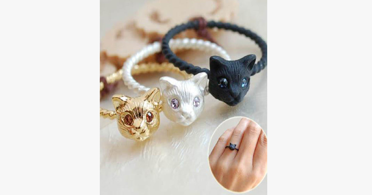 s cat gold rhinestone silver ring kitty angel women for wing retro onyx adjustable products freakypet hot sale plated rings