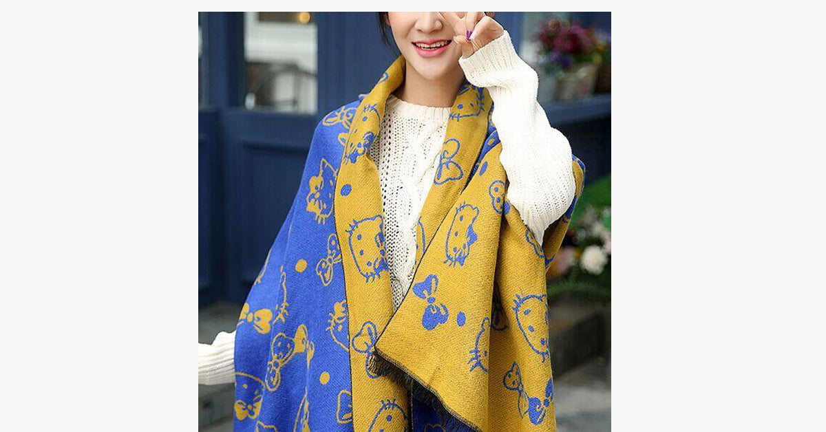 Cat pattern Double-sided Cashmere Scarf Shawl