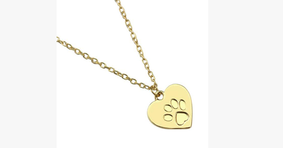 Cat Paw Print Pendant-Gold color