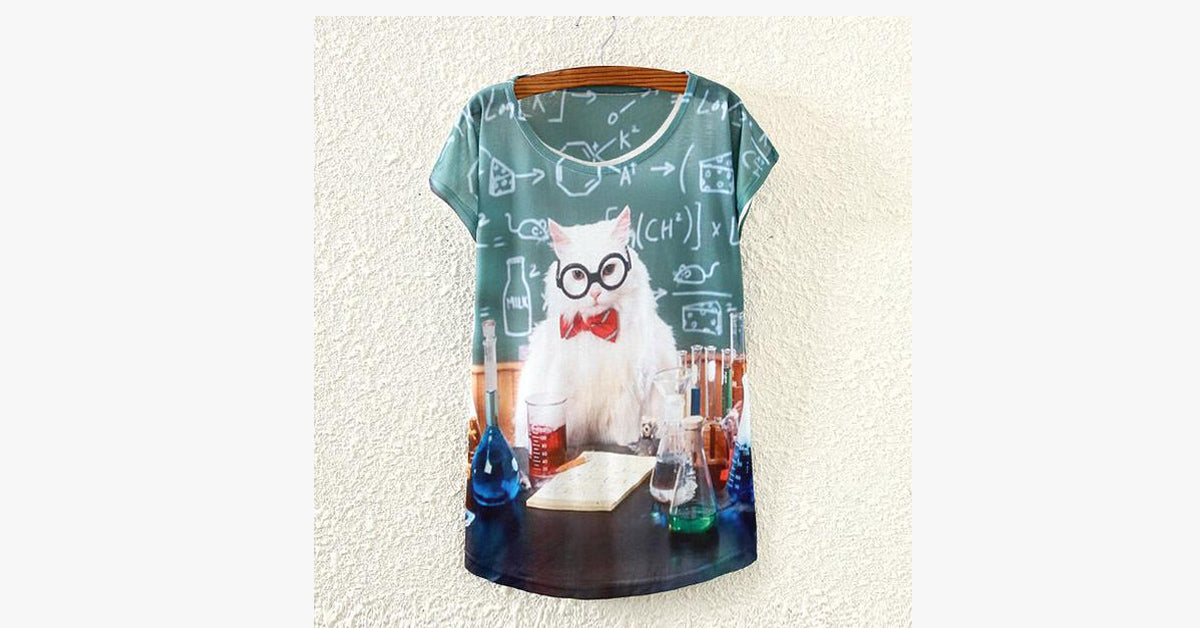 Cat Printed Pat T-Shirt