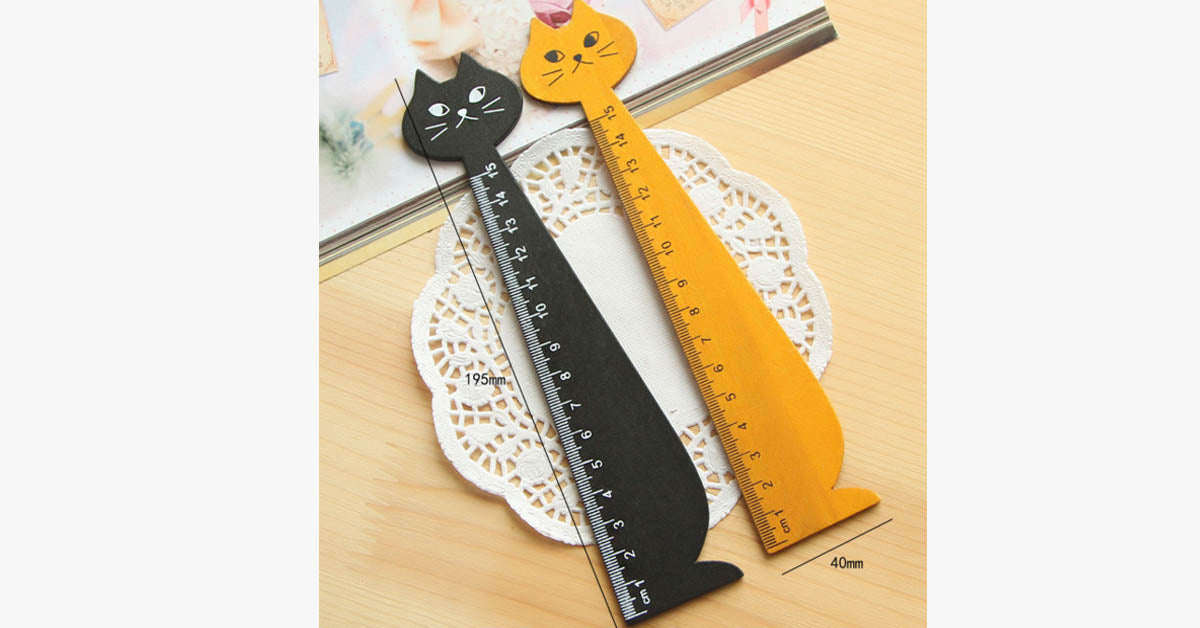 Cartoon Cute Cat Modeling Solid Wood Ruler