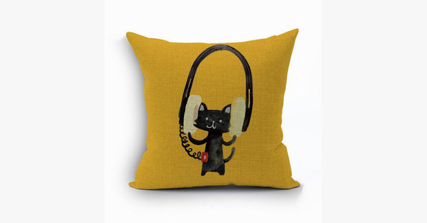 Music Cat Pillow Cover