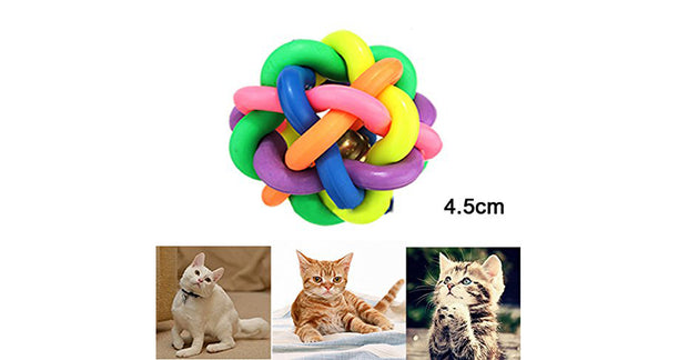 Pet Cat Toy Colorful Rubber Round Ball with Small Bell