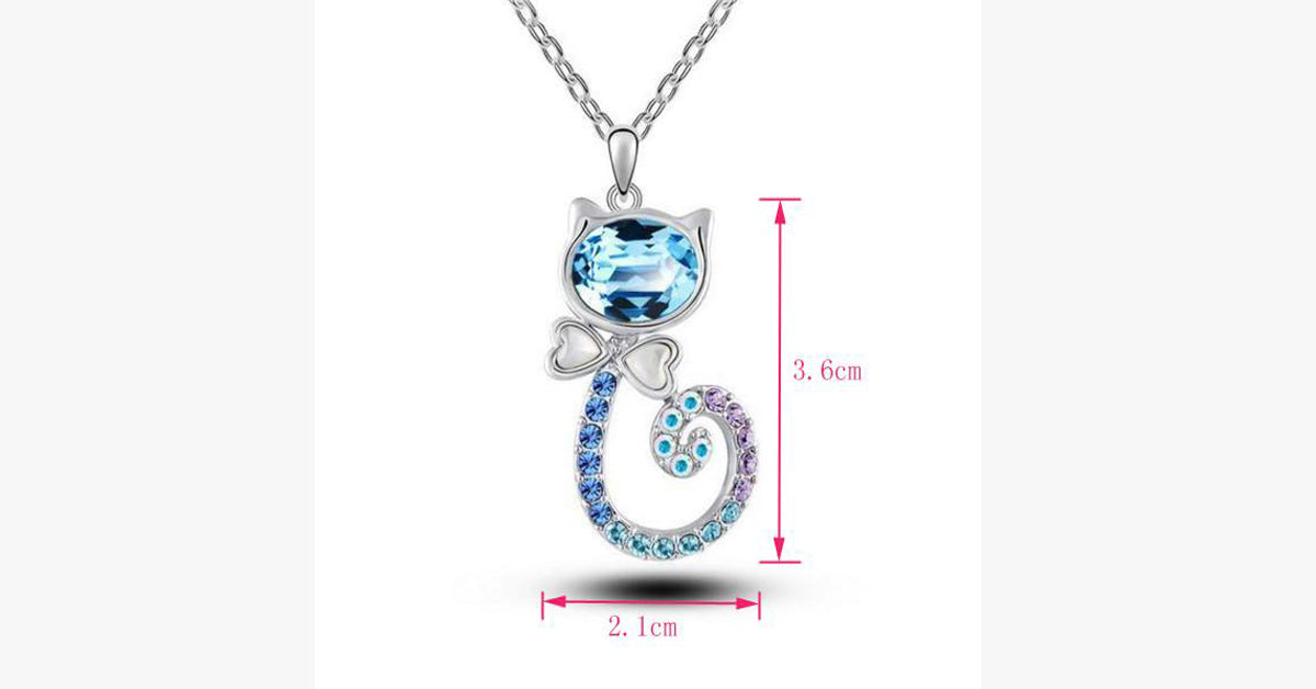 Blue Diamond Cat Necklace