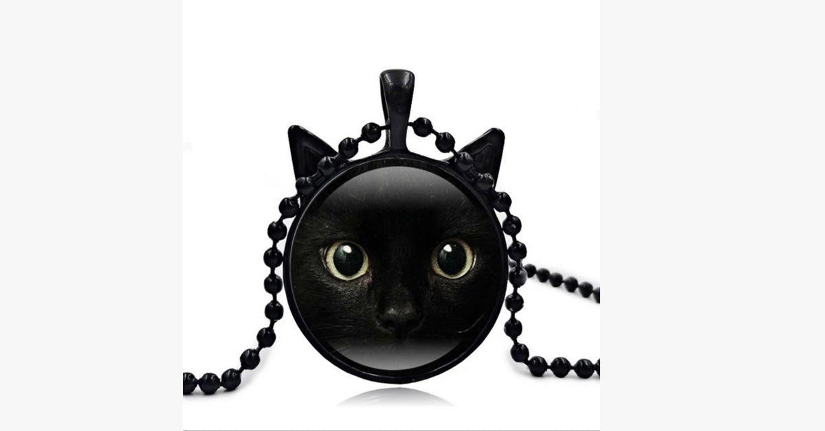 The Black Cat Face Time Gem Necklace Pendants