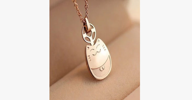 Cute Cat 14K Rose Gold Bone Chain