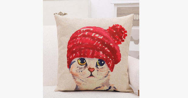 Red Hat Cat Pillow Cover