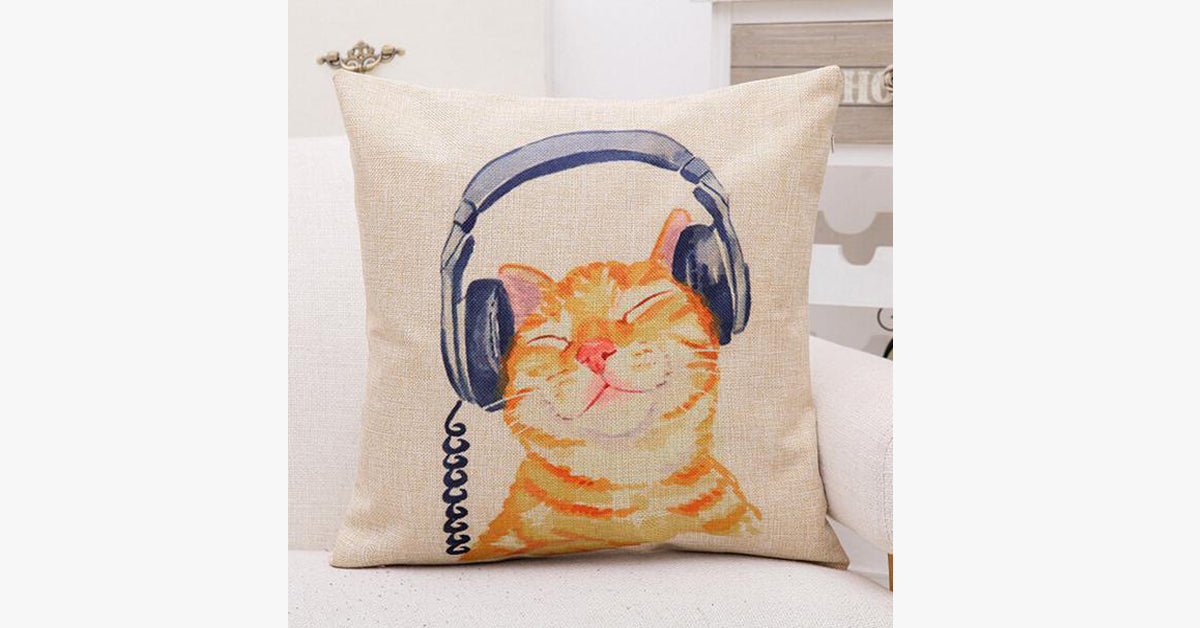 Cat In Headphones Pillow Cover