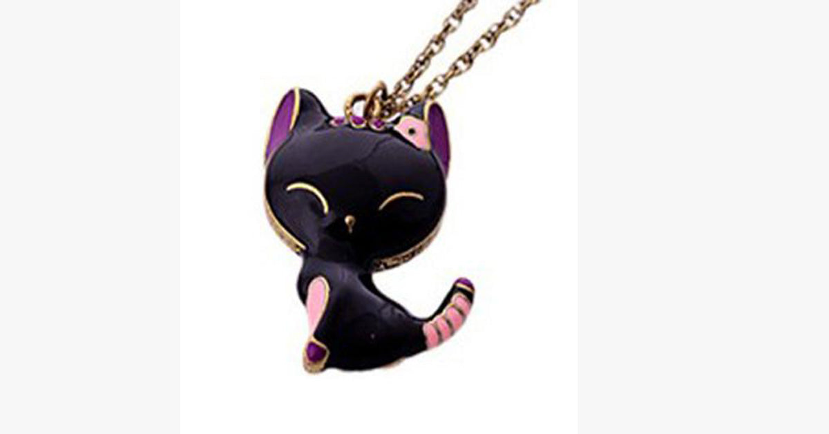 Happy Black Cat Princess Pendant