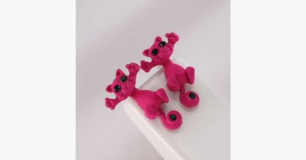 Cute Pink Cat Earrings