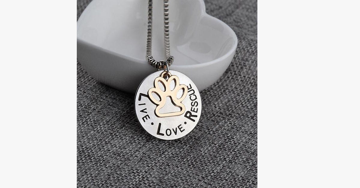Cat Paw Print Live Love Rescue Pendant
