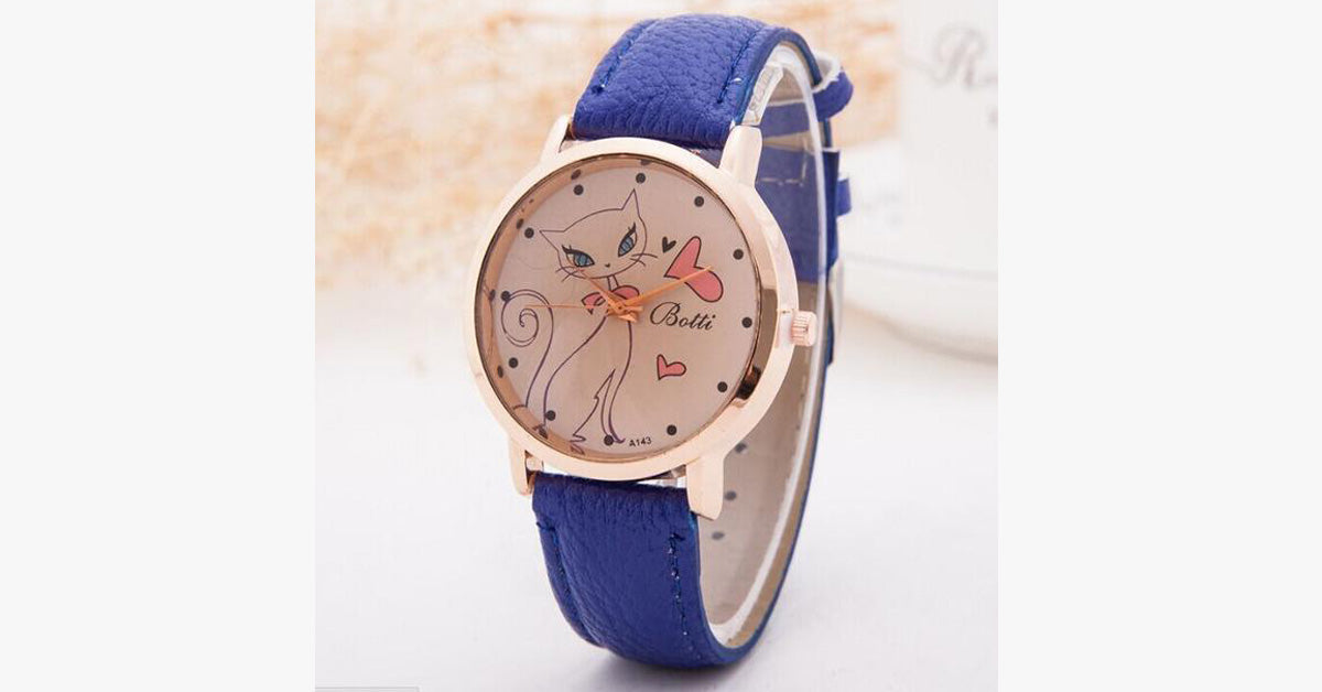 Cat Fashion Cartoon Watch-Blue color